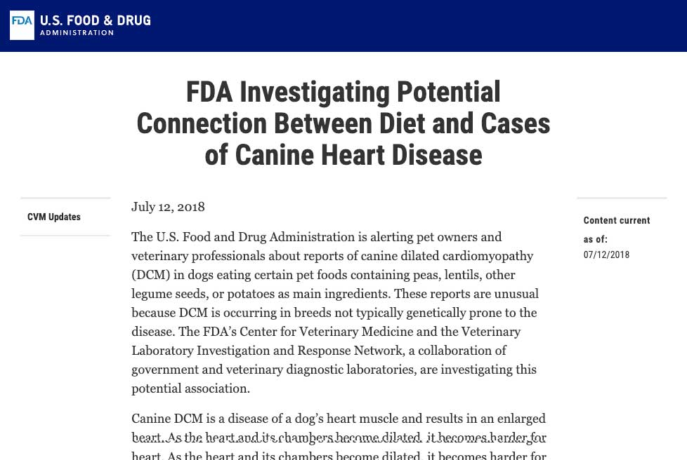 DCM and Grain Free Pet Foods FDA Investigation Announcement